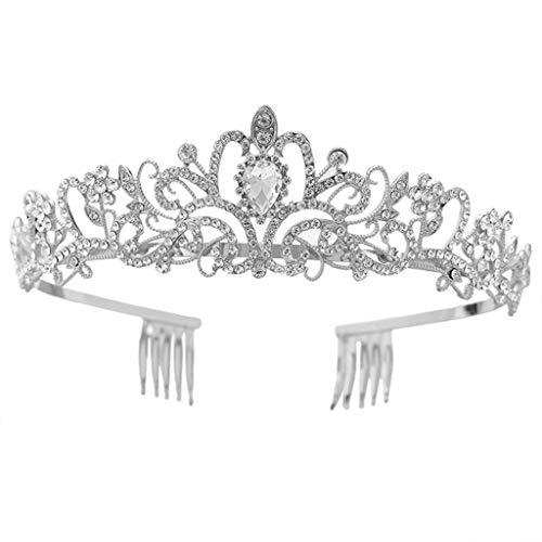 GREEN&RARE Tiara con corona de cristal de imitacin con peine para la cabeza, boda, graduacin, fiesta de cumpleaos, princesa, vintage, accesorios para el pelo