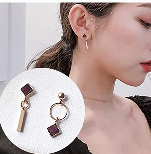NOBRAND Pendientes asimétricos para Mujer Pendientes geométricos Cuadrados Dorados Redondos Pendientes de Moda Regalos de Fiesta