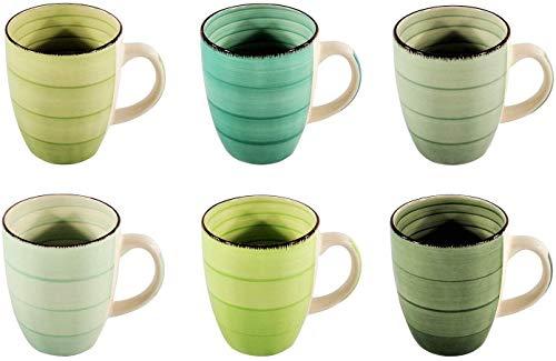 DRULINE 6er Set Kaffeetasse Kaffeepott Kaffeebecher Tassen Bürotasse Trinkbecher Becherset Mehrfarbig Kaffee Tee Milch Kakao Keramik Becher ca.400 ml (Ø x H) ca. 8,5 x 10 cm (Grüner Kaffeebecher)