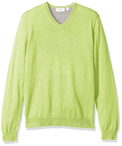 Calvin Klein Men's Merino Solid V-Neck Sweater, Sunny Lime Teal, X-LARGE