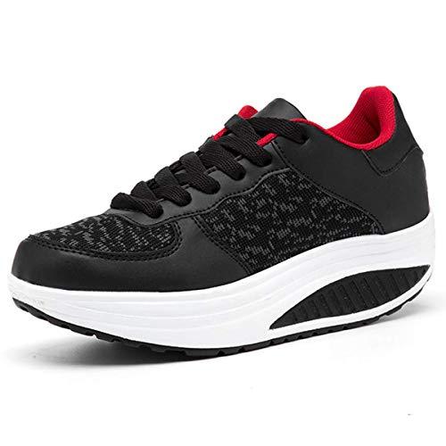 Lanchengjieneng Womens Walking Platform Shoes Ladies Fitness Orthopedics Wedge Sneakers Black 2 UK