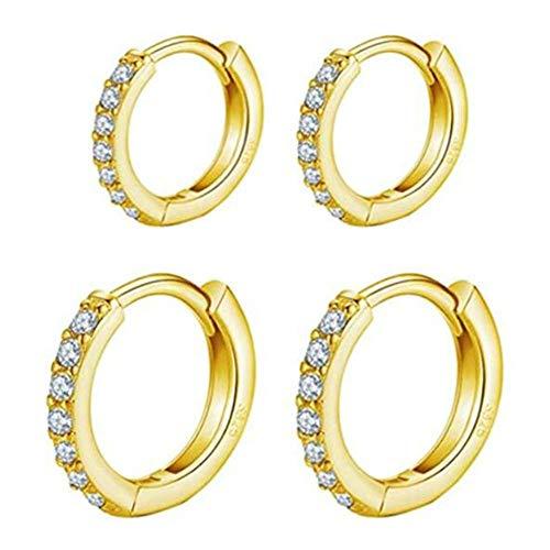 Small Silver Hoop Huggie Earrings Set, 2 Pairs 925 Sterling Silver Hoop Earrings Cubic Zirconia Cuff Earrings Jewellery for Women(8.5mm, 10.5mm)