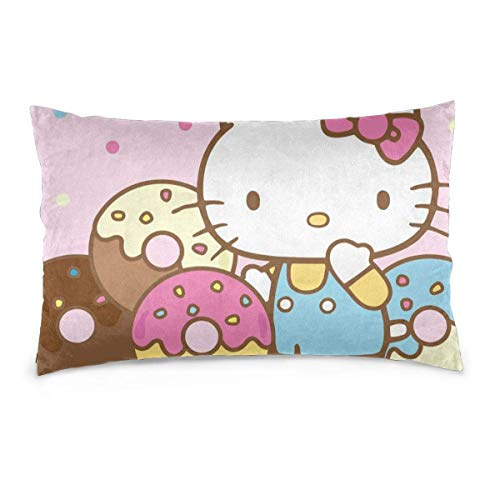 chengzhong Pillow Cases Hello Kitty with Donuts Throw Cushion Covers Body Pillow Cover for Car Sofa Bed Home Decor 20'x30'