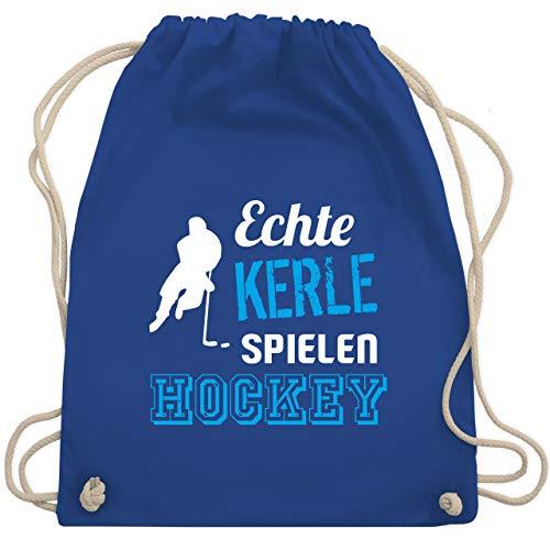 Shirtracer Eishockey - Echte Kerle spielen Hockey - Unisize - Royalblau - turnbeutel hockey - WM110 - Turnbeutel und Stoffbeutel aus Baumwolle