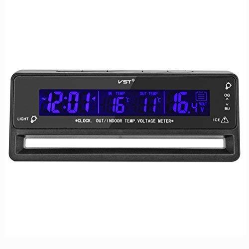 OFKPO Digital LCD Auto Elektronischer Thermometer/Spannungsmesser/Uhr Alarm(Schwarz)