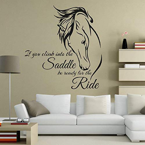 Wall Stickers Quotse, Fashion Horse Animal Letter Art Decal Detachable DIY Vinyl Wallpaper Wall Sticker Bedroom Living Room Background Home Decoration Bedside Sticker
