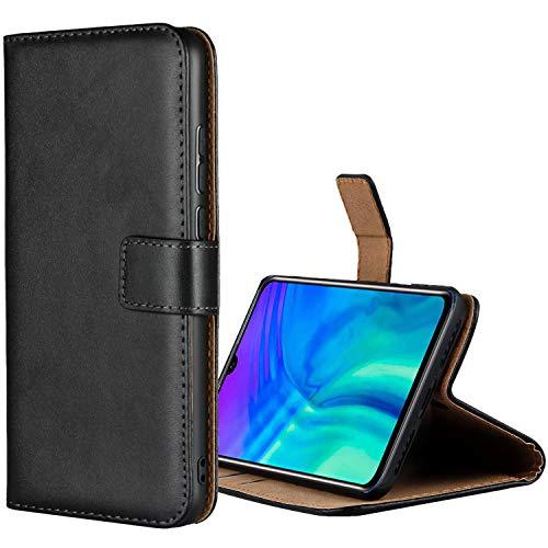 Aopan Huawei Honor 20 Lite Hülle, Flip Echt Ledertasche Handyhülle Brieftasche Schutzhülle für Huawei Honor 20 Lite, Schwarz