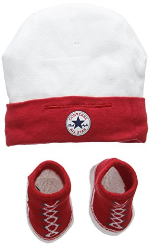 Converse Unisex Baby Hat And Bootie Plain Clothing Set, Multicoloured (Red), 0-6 Months