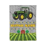Custom Name Kids Tractor Fleece Sherpa and Minky Extra Large Printed Throw Blankets (Medium 50x60 Minky Fleece)