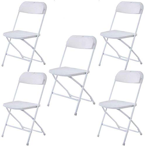 Cypress Shop Folding Chairs Commercial Stackable Portable Padded Backrest Plastic Frame Rubber Feet for Wedding National Public Catering Seating Party Seats Backyard White