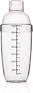 FEOOWV Plastic Cocktail Shaker,Drink Mixer Hand Shaker Cup with Scales,Transparent (24 oz / 700cc)