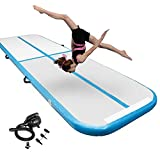 10ft Inflatable Gymnastics Air Tumbling Mat 4 Inch Thickness for Home Use/Yoga/Water with Electric Pump