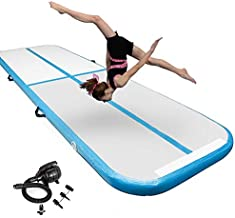 Inflatable Gymnastics Air Tumbling Mat 4 Inch Thickness Gymnastics mat 13ft for Home Use/Yoga/Training/Water with Electric Pump(Blue)
