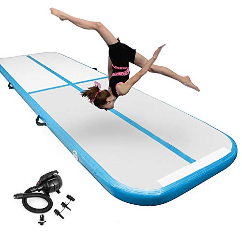 Inflatable Gymnastics Air Tumbling Mat 4 Inch Thickness Gymnastics mat 13ft for Home Use/Yoga/Training/Water with Electric PumpBlue