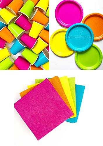 Neon 80s Party Paper Cups, Plates and Napkins Set.
