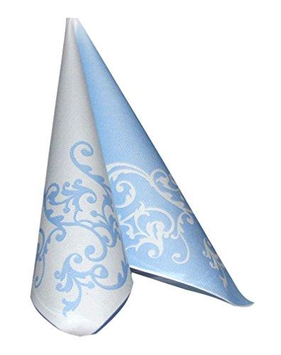 Servietten Pomp blau-weiß Tischdeko Hochzeitsdeko Servietten falten 50Stk 40x40cm