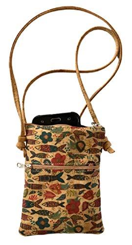 Kaibe Bolso bandolera de corcho natural pequeño bolso de móvil para mujeres y niñas (multicolor2)