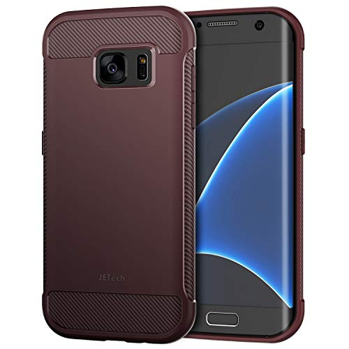 JETech Case for Samsung Galaxy S7 Edge Protective Cover with Shock-Absorption and Carbon Fiber Design (Plum)