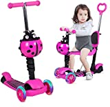 5-in-1 Kids Scooter, 3 Wheels Baby Scooter Kick Scooter with Adjustable Removable Seat