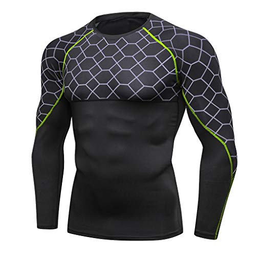 Celucke Funktionsshirt Langarm Kompressionsshirt Herren Sportunterwäsche Funktionsunterwäsche, Unterhemden Männer Kompression Compression Shirt Laufshirt