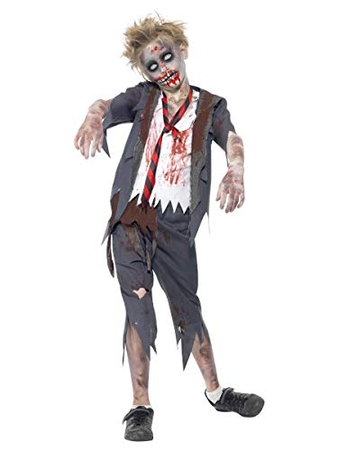 Smiffys Disfraz de colegial Zombi, con pantalón, Chaqueta, Falsa Camisa y Corbata