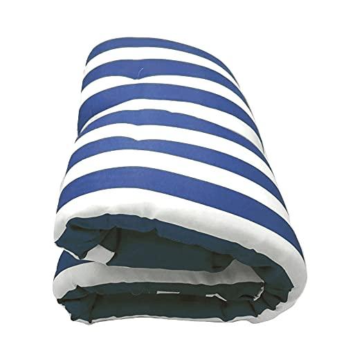 Cojín para tumbonas. Medidas 180 x 55 x 8 cm. Colchoneta para Silla y Tumbona de Playa, Piscina, jardín (Rayas Azules)
