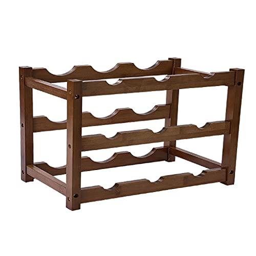 Baoblaze Portabottiglie da bancone Robusto portabottiglie pieghevole in bambù Portabottiglie in legno moderno per dispensa, cucina, piano del tavolo - 3 strati