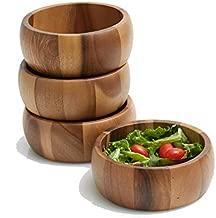 Woodard & Charles Set of 4 Acacia Wood Large Individual Salad Bowls, Snack Serving Bowls, 6 1/2