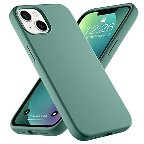 Upeak Liquid Silikon Hülle Kompatibel mit iPhone 13 Hülle 2021, 6.1 Zoll Anti-Schock Handyhülle DREI Schichten Komplette Schutzhülle Cover Bumper für Damen Herren, Kieferngrün