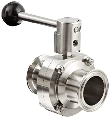 """Dixon B5101S150CC-A Stainless Steel 316L Butterfly Valve with Pull Handle and Silicone Seal, 1-1/2"""" Tube OD from Dixon Valve & Coupling"""