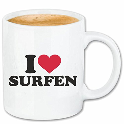Reifen-Markt Taza de café con texto 'I Love Surfen' – Tabla de surf – Surfurlaub – Surferin cerámica 330 ml en color blanco