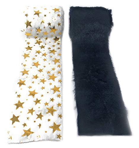 Marzoon 2er Set Fellband Dekoband Kunstfell-Band Fell für Dekoration Nähen Basteln 8 x 180cm in Uni Blau und Weiß mit goldenen Sternen