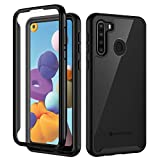 Seacosmo Samsung A21 Case, Full Body Shockproof Cover [with Built-in Screen Protector] Slim Fit Bumper Protective Phone Case for Samsung Galaxy A21 4G - Black/Clear