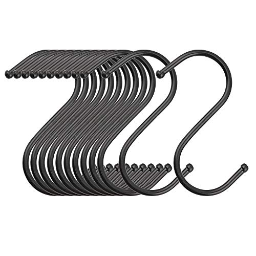 LOYMR 20 Pack 3.3 Inches Heavy Duty S Hooks Hanging Hangers Pan Pot Holder Rack Hooks for Spoons Pans Pots Utensils Clothes Bags Towels Plants etc