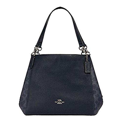 COACH WOMENS HALLIE SHOULDER BAG IN SIGNATURE CANVAS 91133 DENIM MIDNIGHT, Large