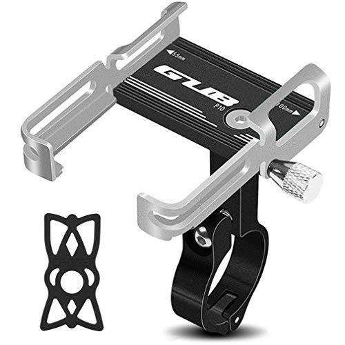 RXLLSY Accesorios del Soporte del TeléFono Celular de La Bicicleta, del Clip del Manillar de La Motocicleta del Soporte del TeléFono de La Bicicleta de Aluminio para el TeléFono Celular,Black Silver