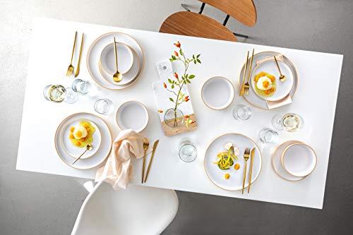 Sänger Dinner Service Oslo aus Porzellan 12 teilig für 4 Personen   Füllmenge der Schalen 600 ml   Tellerset im Skandi-Stil Weiß Beige, Geschirrset hochwertig, Porzellanservice