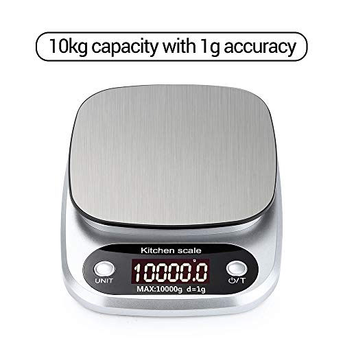 KKmoon DH-C305 Digitale personenweegschaal, mini elektronische keukenweegschaal, professioneel, Accurata, precisieweegschaal, achtergrondverlichting, 3 kg x 0,1 g 10 kg / 1 g