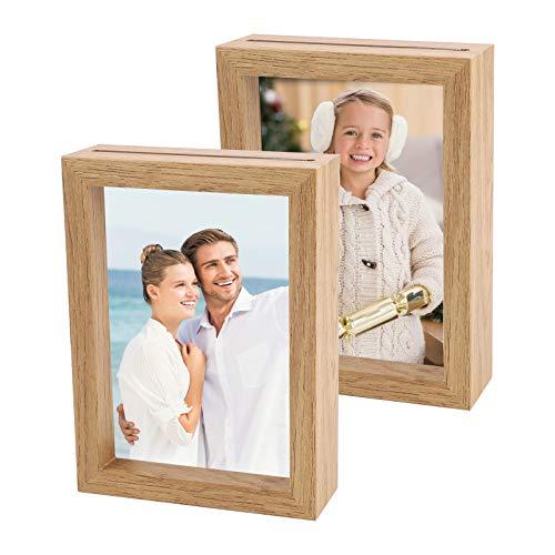 GLAITC Holz-Bilderrahmen 11,4 x 15,2 cm Holz Strukturierter Bilderrahmen, doppelseitiger Fotorahmen mit transparentem Acrylglas für Pflanzen Dekoration Tischdekoration Heimdekoration,wood