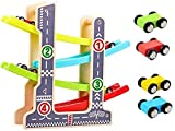 Car Racer Track Playset Wooden Click Clack Toys with 4 Levels Zig Zag