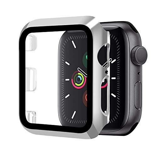 Funda Compatible con Apple Watch 40mm Serie 5/Serie 4+Cristal Templado, Qianyou PC Case y Vidrio Protector Pantalla Integrados, Anti-Rasguños Slim Bumper Case Cover para iWatch 40mm 5/4 (Plata)