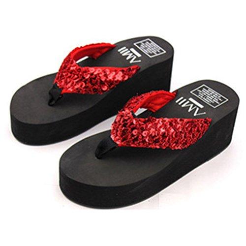 OULII Frauen Glitter Plateau Sandalen Shiny Thong Sandalen rutschfeste Keilabsatz Flip Flops Größe 40 (Rot)