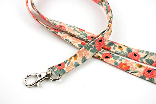 Bedocia Peach Roses Print Floral Lanyard Women&Girls Cute Lanyard for Keys,Id Badge Holder,Card,Cell Phone,Wallet