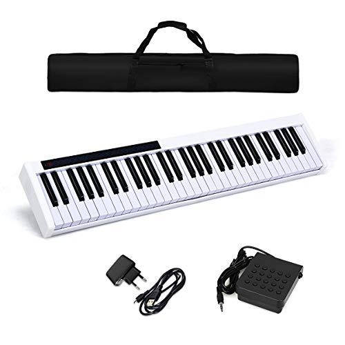 COSTWAY Digitales Piano Keyboard 61 Tasten, elektronisches Klavier Keyboard mit Tragetasche, Musikgeschenke für Kinder und Anfänger Bluetooth / 128 Rhythmen/MIDI/USB-Schnittstelle