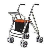 Andador para personas mayores | Rollator de aluminio con asiento | Andador de aluminio plegable | Color naranja