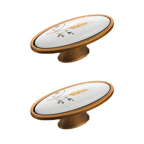 Kenfun 2 pomos de puerta de armario con diseño impreso de cerámica de latón para armario zapatero gabinete cajón manilla de puerta de gabinete armario cajón cajón cajón (con tornillos de 22 mm)