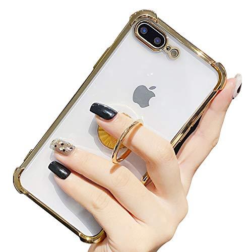 Suhctup Coque Compatible pour iPhone 7+ Plus/8+ Plus avec Support,Etui Case Transparent Silicone TPU Gel [Angles Renforcés] Antichoc Housse Cover avec 360° Support de Voiture Magnetique,Or