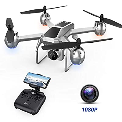 Drone HS140 with HD Camera for Kids and Adults, FPV Quadcopter with APP Control, Trajectory Flight, Voice/Gesture Control, 3D Flip, 17 Min Long Battery Life, Training Toy Gift