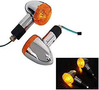 2Pcs Motorcycle Amber Tail Bullet Turning Signal Lights Indicator Lamp For Yamaha Virago Xv 250 500 535 700 750 920 1100