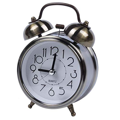 FPRW wekker met dubbele bel, stil uurwerk, retro nachtlampje en luid alarm, voor nachtkastje, woonkamer, brons (8 x 4,5 x 12 cm)